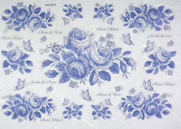 Rice Paper - Blue Roses