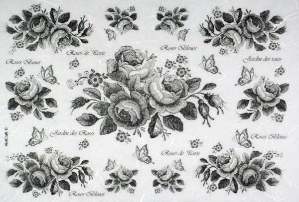 Rice Paper - Black Roses