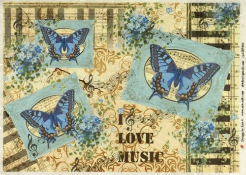 Rice Paper - Blue Butterflies