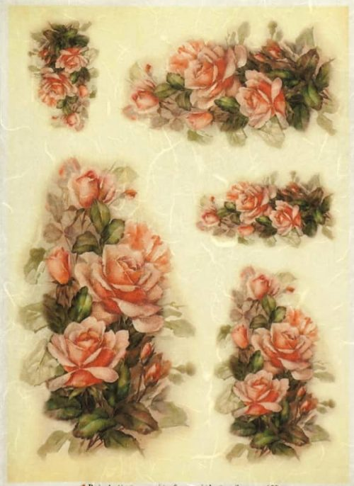 Rice Paper - Painted Roses