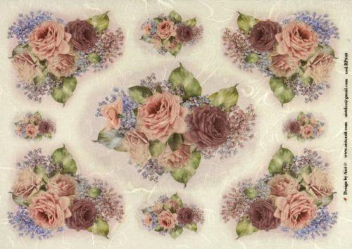 Rice Paper - Vintage Purple Roses