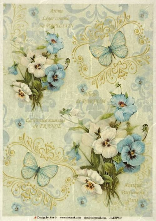 Rice Paper for Decoupage Scrapbook Craft Sheet Vintage Blue Violets