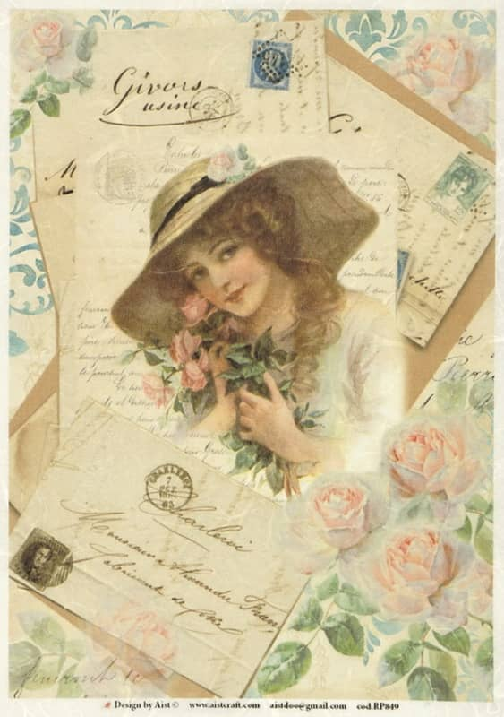 Rice Paper - Vintage Woman in Hat