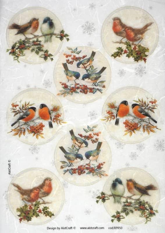 Rice Paper - Winter Birds