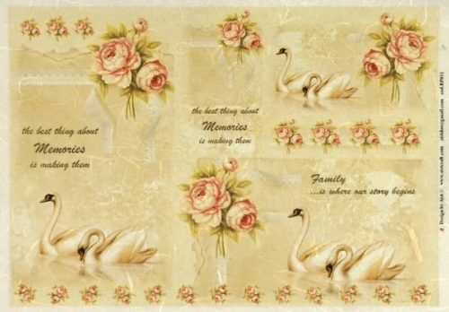 Rice Paper - Swans and Roses