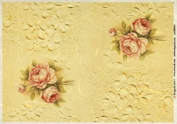 Rice Paper - Vintage Roses on Lace