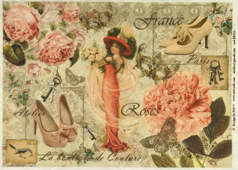 Rice Paper - Steampunk Women with Shoes large