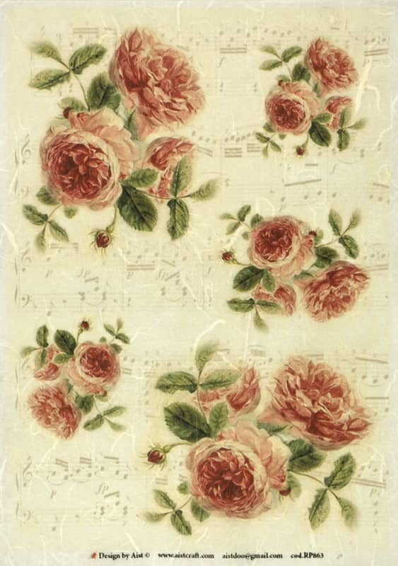 Rice Paper - Roses and Notes