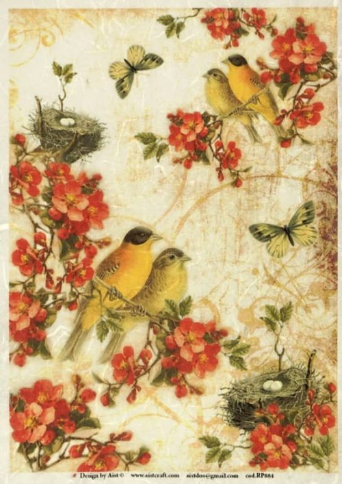 Rice Paper - Blossom with Birds