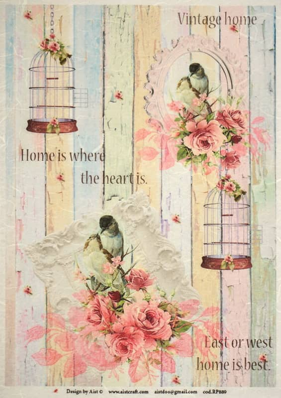 Rice Paper - Vintage Birds and Roses