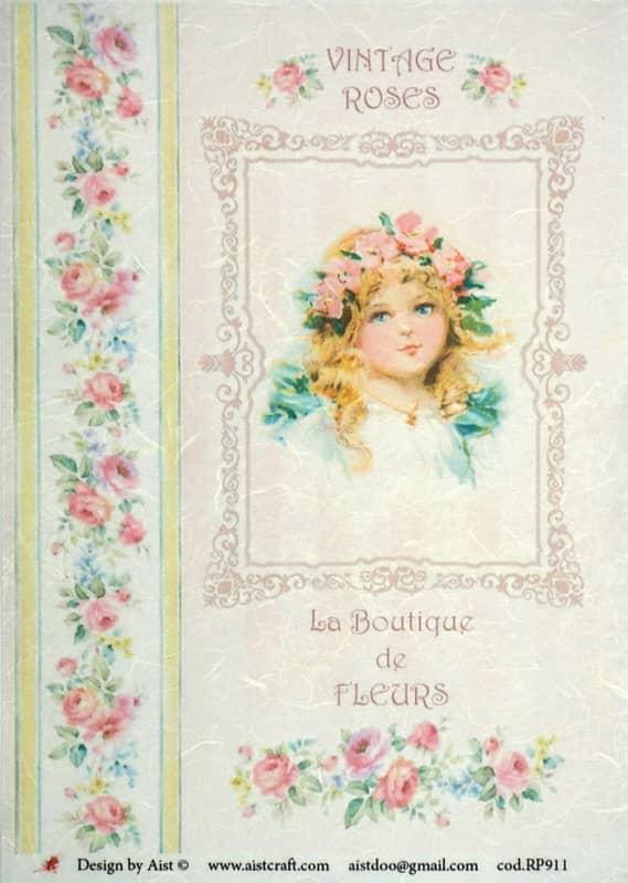 Rice Paper - Vintage Roses Girl