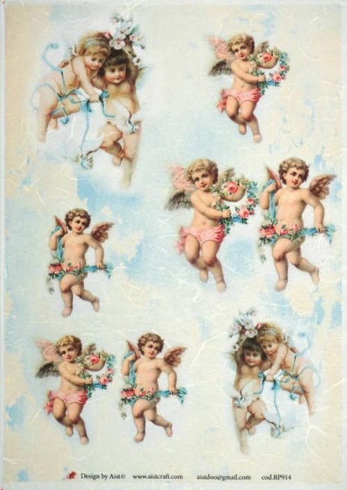 Rice Paper - Vintage Angels & Flower