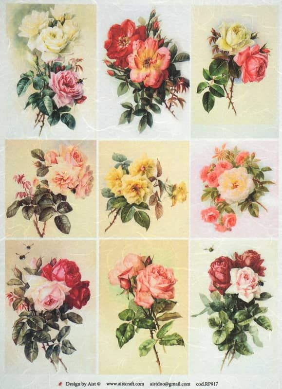 Rice Paper - Vintage Small Roses