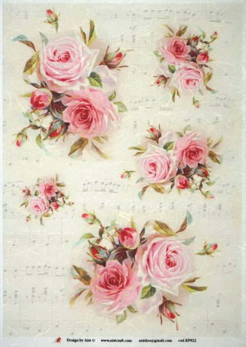 Rice Paper - Vintage Red Roses