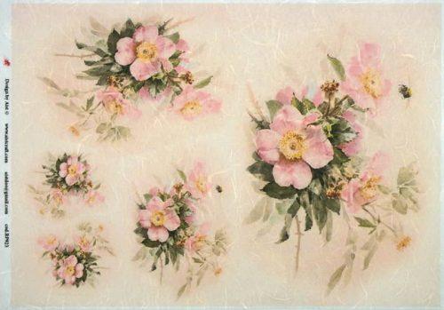 Rice Paper - Vintage Pink Flowers
