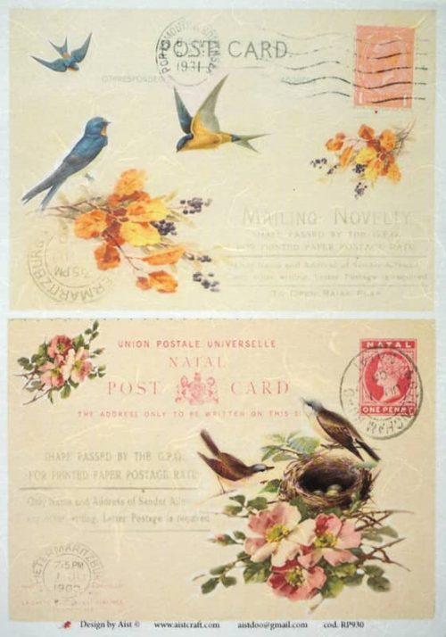Rice Paper - Vintage Birds Familie