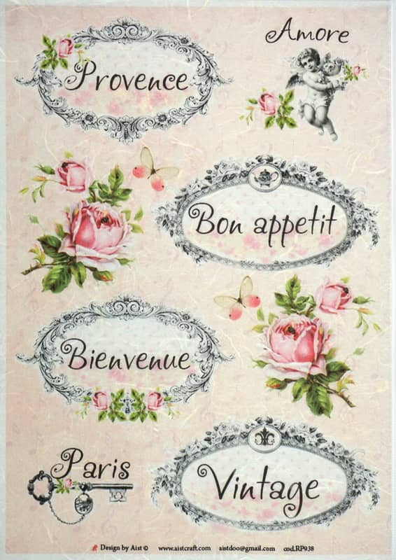 Rice Paper - Labels & Roses-for Decoupage Vintage