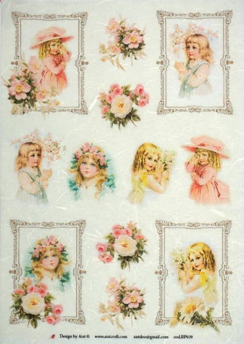 Rice Paper - Girls & Roses- Vintage