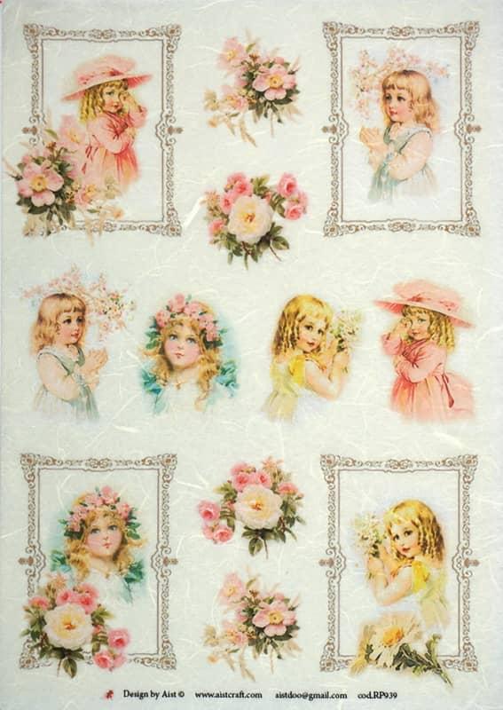 Rice Paper - Girls & Roses- Vintage