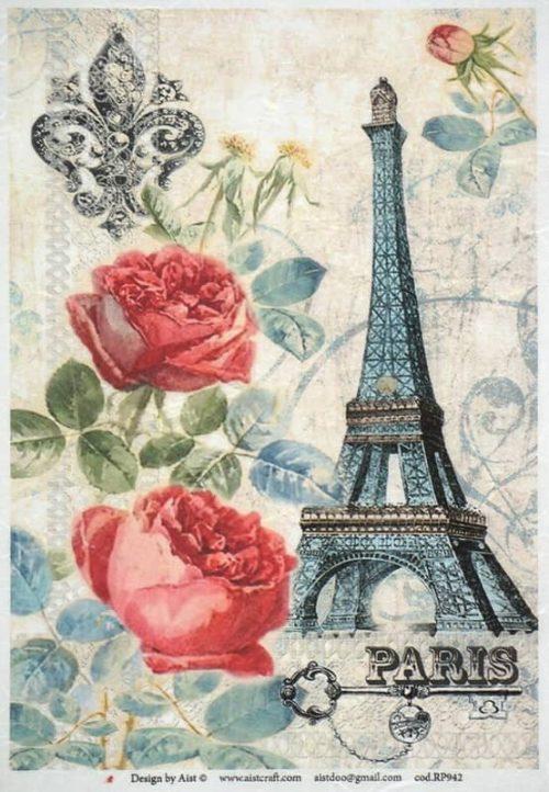 Rice Paper - Vintage Paris & Roses-