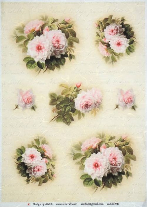 Rice Paper - Vintage White Roses-