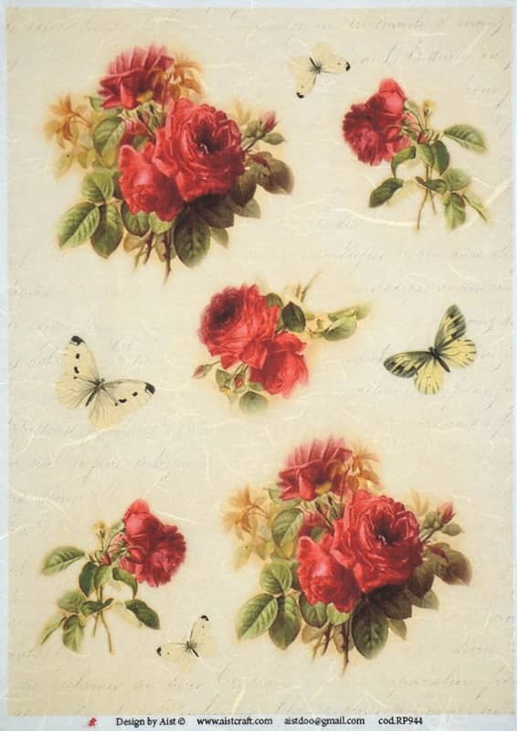 Rice Paper - Vintage Red Roses-