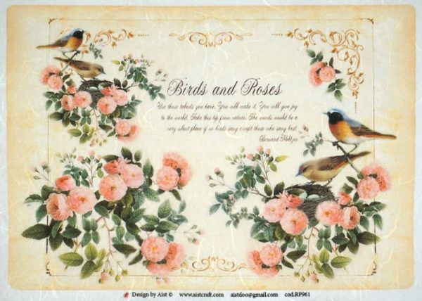 Rice Paper - Vintage Birds and Roses-