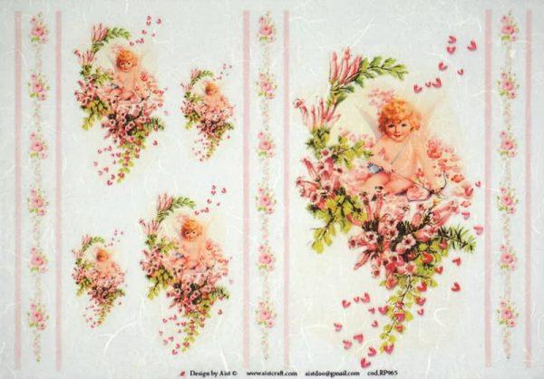 Rice Paper - Angel on Flower Vintage