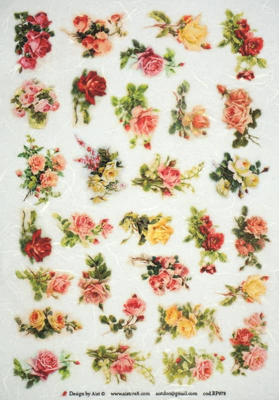 Rice Paper - Small red and yellow Roses