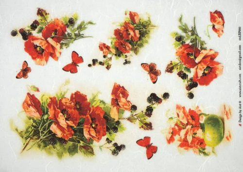 Rice Paper -Red Poppies