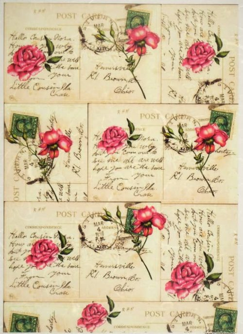 Rice Paper - Red Roses on Postcards