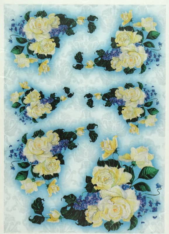 Rice Paper - Yellow roses on blue