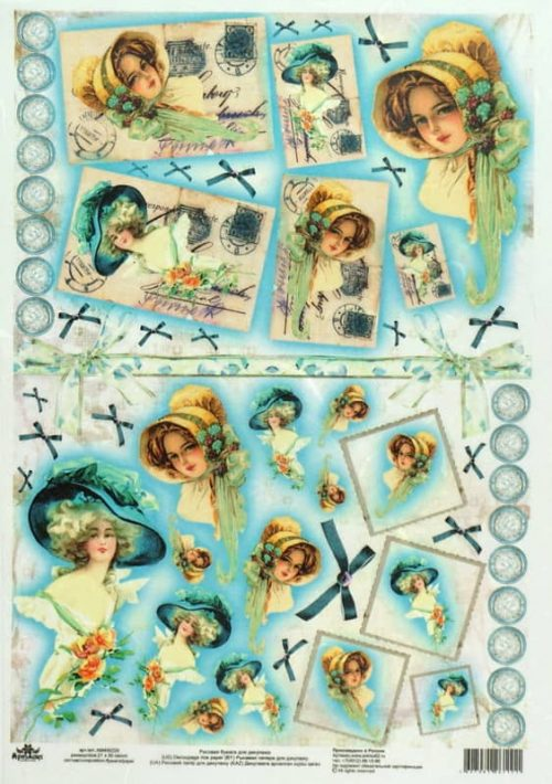Rice Paper - Vintage Lady with Blue