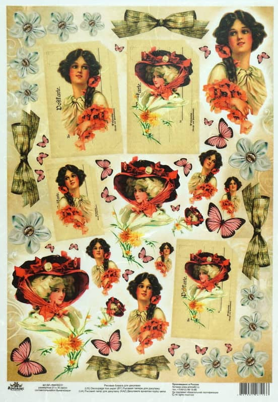 Rice Paper - -Vintage Lady Butterfly-