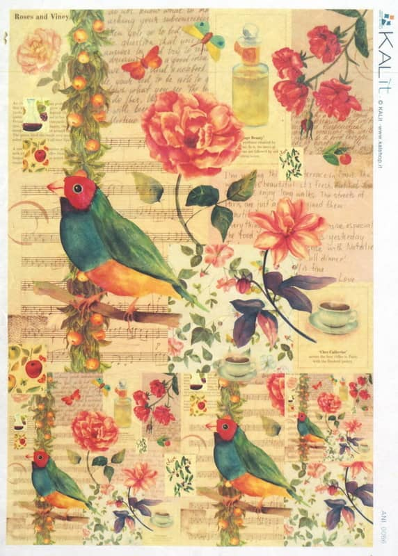 Rice Paper - Colorful Bird Flower