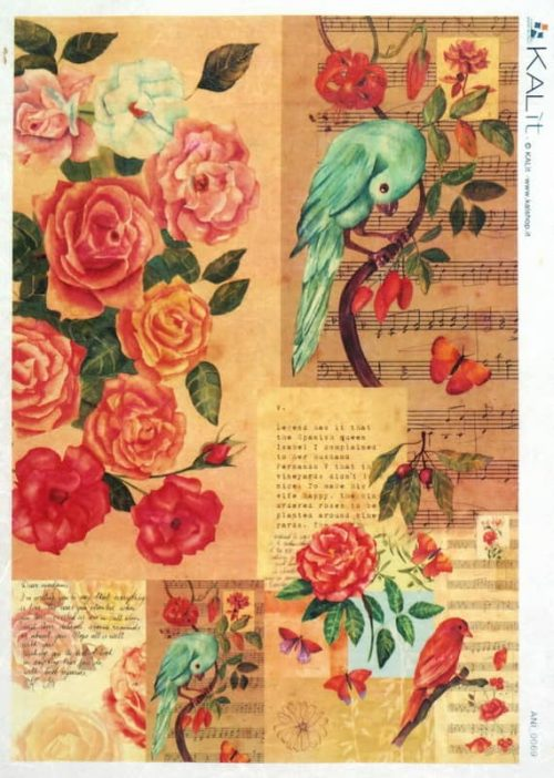 Rice Paper - Colorful Bird Roses