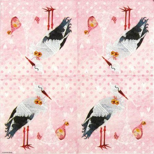 Paper Napkin - Baby Girl Stork