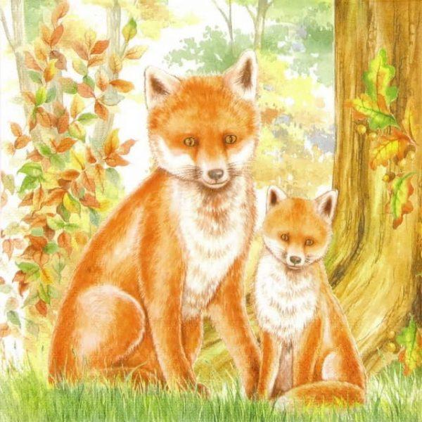 Paper Napkin - Family Fox