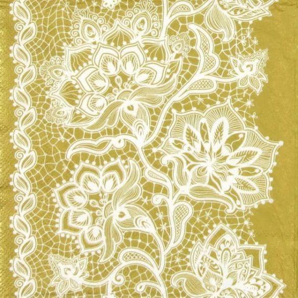 Paper Napkin - Gloria Lace Neg Gold