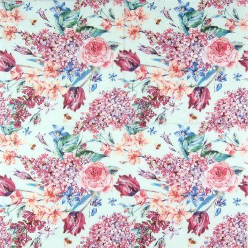 Paper Napkin - Flower Composition Green