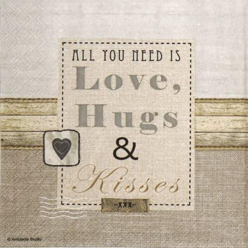 Paper Napkin - Love, Hugs & Kisses