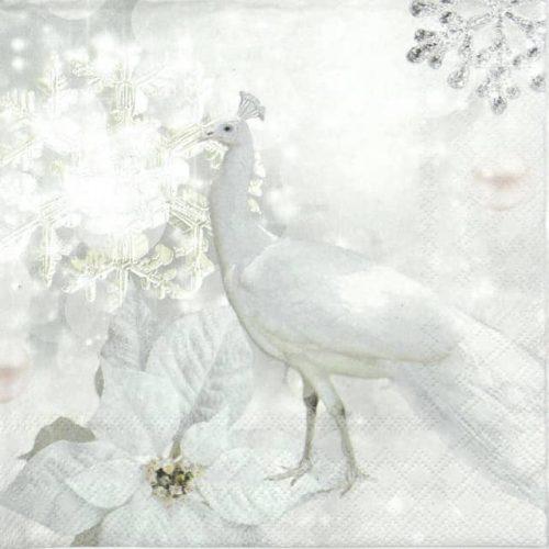 Paper Napkin - White Peacock