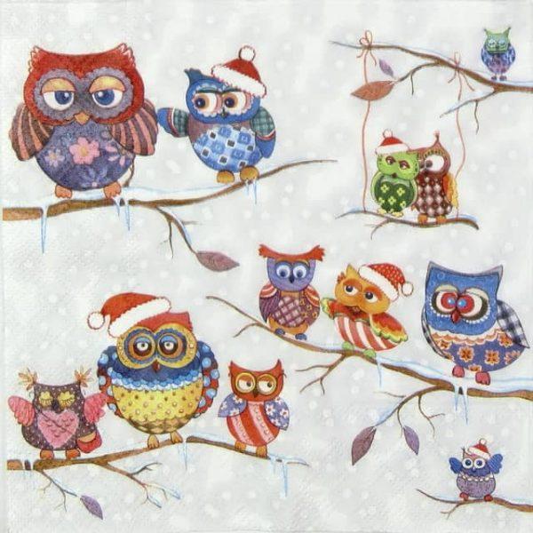Lunch Napkins (20) - Owls in Winterland
