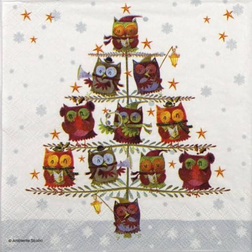 Lunch Napkins (20) - Christmas tree with owls