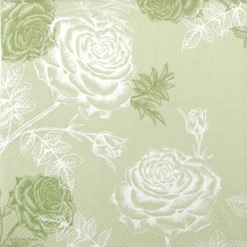 Paper Napkin -  Etching Roses Green