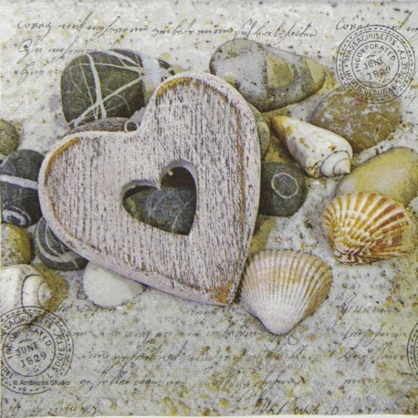 Lunch Napkins (20) - Hearts and Stones