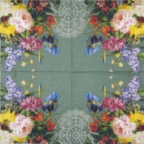Paper Napkin - Still Life Bouquet Petrol