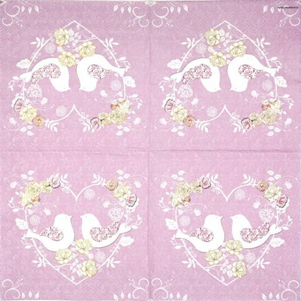 Lunch Napkins (20) - Turtle Doves lila
