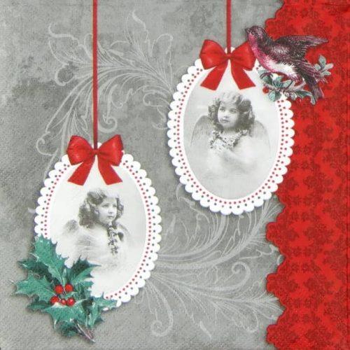 Paper Napkin - Vintage Angels Grey