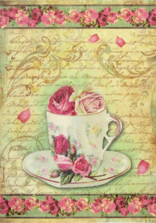 Rice Paper - Teapot with Roses
